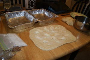The dough all rolled out and ready for cinnamon and sugar!