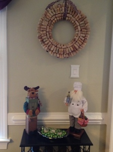 Above the wine rack - with Christmas Santa :-)